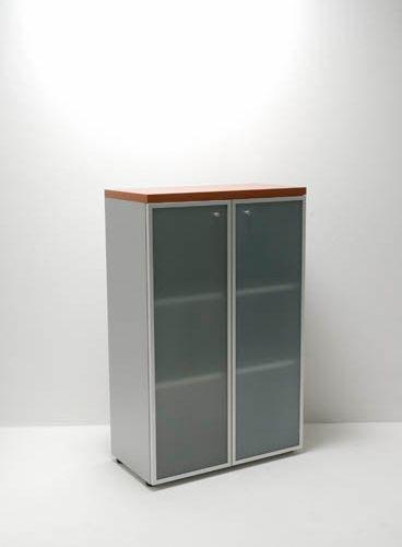Houten Kast Met Glazen Deuren 131x86cm
